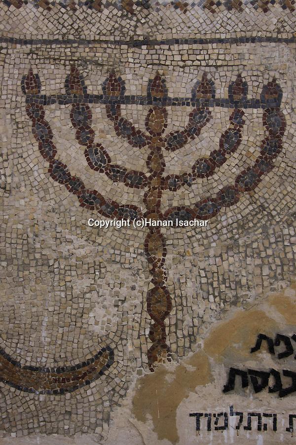 Israel, Beth Shean Valley, a mosaic depicting a menorah from the ancient Synagogue of Tel Menorah in Kibbutz Tirat Zvi