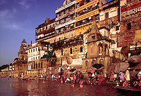 India, Uttar Pradesh.  Varansi, formerly Benares, Hindu holy city on the Ganges River.  One of the world's most ancient cities.  The faithful bathe in the river at dawn from the ghats in ritual purification.