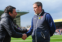 Lincoln City manager Danny Cowley, left, and Cheltenham Town manager Michael Duff<br /> <br /> Photographer Chris Vaughan/CameraSport<br /> <br /> The EFL Sky Bet League Two - Lincoln City v Cheltenham Town - Saturday 13th April 2019 - Sincil Bank - Lincoln<br /> <br /> World Copyright © 2019 CameraSport. All rights reserved. 43 Linden Ave. Countesthorpe. Leicester. England. LE8 5PG - Tel: +44 (0) 116 277 4147 - admin@camerasport.com - www.camerasport.com