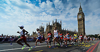 12.08.2012. London, England.  Athletes compete in Mens Marathon Competition as they cross Westmionster bridge. London 2012 Olympic Games