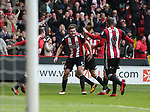 Leon Clarke of Sheffield Utd celebrates scoring with Jack O'Connell of Sheffield Utd during the championship match at the Bramall Lane Stadium, Sheffield. Picture date 14th April 2018. Picture credit should read: Simon Bellis/Sportimage