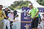 Zhao Hongbo plays tennis at the 10th hole during the World Celebrity Pro-Am 2016 Mission Hills China Golf Tournament on 22 October 2016, in Haikou, China. Photo by Weixiang Lim / Power Sport Images