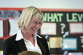 Happy teacher. State Secondary Roman Catholic school..