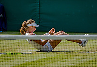 London, England, 5 th July, 2017, Tennis,  Wimbledon,     Johanna Konta (GBR) falling on the grass in her match against Donna Vekic (CRO)<br /> Photo: Henk Koster/tennisimages.com