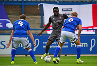Lincoln City's John Akinde looks to get between Macclesfield Town's Keith Lowe, left, and Jamie Grimes<br /> <br /> Photographer Andrew Vaughan/CameraSport<br /> <br /> The EFL Sky Bet League One - Macclesfield Town v Lincoln City - Saturday 15th September 2018 - Moss Rose - Macclesfield<br /> <br /> World Copyright &copy; 2018 CameraSport. All rights reserved. 43 Linden Ave. Countesthorpe. Leicester. England. LE8 5PG - Tel: +44 (0) 116 277 4147 - admin@camerasport.com - www.camerasport.com