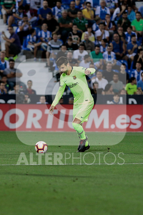 FC Barcelona's Gerard Pique during La Liga match between CD Leganes and FC Barcelona at Butarque Stadium in Madrid, Spain. September 26, 2018. (ALTERPHOTOS/A. Perez Meca)