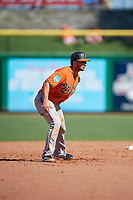 Baltimore Orioles left fielder Joey Rickard (23) leads off second base during a Grapefruit League Spring Training game against the Philadelphia Phillies on February 28, 2019 at Spectrum Field in Clearwater, Florida.  Orioles tied the Phillies 5-5.  (Mike Janes/Four Seam Images)