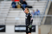 Boyds MD - April 19, 2014: Ashlyn Harris (1) of the Washington Spirit. The Washington Spirit defeated the FC Kansas City 3-1 during a regular game of the 2014 season of the National Women's Soccer League at the Maryland SoccerPlex.
