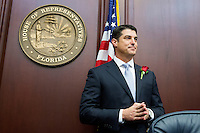 TALLAHASSEE, FLA. 11/18/14-ORGSESS111814CH-House Speaker Steve Crisafulli, R-Merritt Island, waits to speak after taking the oath of office during Organizational Session, Nov. 18, 2014 at the Capitol in Tallahassee.<br /> <br /> COLIN HACKLEY PHOTO