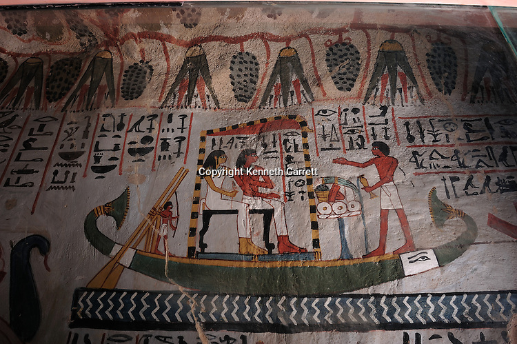 Zahi Hawass Secret Egypt Travel Guide; Egypt; archaeology; Luxor, West Bank, Tombs of the Nobles, TT 96, Sennefer, mayor of Thebes, depicts voyage to Abydos cult center of Osiris, with wife/sister Meryt, New Kingdom, Amenhotep II