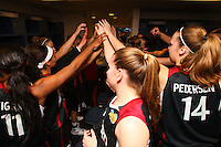 6 April 2008: Stanford Cardinal (not in order) head coach Tara VanDerveer, Melanie Murphy, Jayne Appe, Michelle Harrison, JJ Hones, Candice Wiggins, Cissy Pierce, Kayla Pedersen, Hannah Donaghe, Rosalyn Gold-Onwude, Jeanette Pohlen, Ashley Cimino, Morgan Clyburn, and Jillian Harmon during Stanford's 82-73 win against the Connecticut Huskies in the 2008 NCAA Division I Women's Basketball Final Four semifinal game at the St. Pete Times Forum Arena in Tampa Bay, FL.
