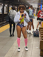 NEW YORK, NY - JANUARY 12: Participant in the No Pants Subway Ride NYC 2020 in New York, New York on January 12, 2020 2019.  <br /> CAP/MPI/RMP<br /> ©RMP/MPI/Capital Pictures