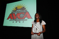 14 December 2007: Stanford Cardinal First-Team All-America Foluke Akinradewo poses with her 2007 AVCA Division I National Player of the Year award during Stanford's 2007 American Volleyball Coaches Association (AVCA) Division I All-America/Player of the Year Banquet at the Sacramento Convention Center in Sacramento, CA.