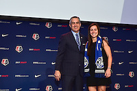 Los Angeles, CA - Thursday January 12, 2017: NWSL Commissioner Jeff Plush, Christina Gibbons during the 2017 NWSL College Draft at JW Marriott Hotel.