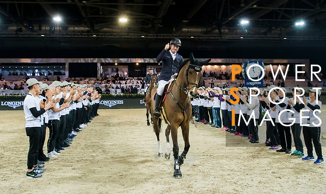 Michael Whitaker of Great Britain riding Calisto Blue after the Longines Grand Prix during the Longines Masters of Hong Kong at AsiaWorld-Expo on 11 February 2018, in Hong Kong, Hong Kong. Photo by Diego Gonzalez / Power Sport Images