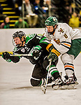 24 October 2015: University of North Dakota Forward Brock Boeser, a Freshman from Burnsville, MN, scores North Dakota's second goal of the game in the first period as he is checked by University of Vermont Catamount Forward Jonathan Turk, a Senior from Calgary, Alberta, at Gutterson Fieldhouse in Burlington, Vermont. North Dakota defeated the Catamounts 5-2 in the second game of their weekend series. Mandatory Credit: Ed Wolfstein Photo *** RAW (NEF) Image File Available ***