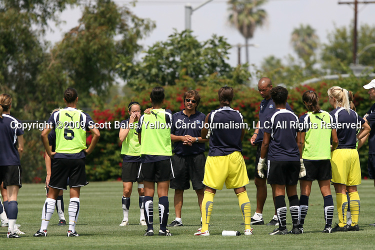 21 August 2009: Los Angeles head coach Abner Rogers (center) talks to his team. The Los Angeles Sol held a training session at the Home Depot Center in Carson, California one day before playing Sky Blue FC in the inaugural Women's Professional Soccer Championship Game.