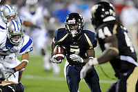 11 October 2008:  FIU defensive back Anthony Gaitor (7) returns an interception 27 yards for a touchdown in the third quarter of the FIU 31-21 victory over Middle Tennessee at FIU Stadium in Miami, Florida.