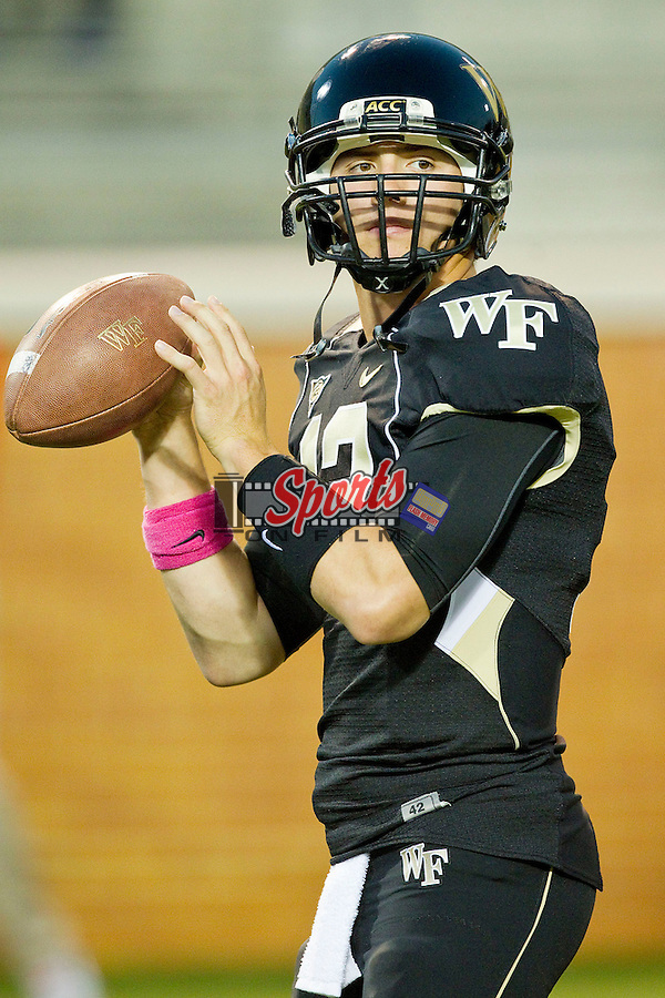 Brendan Cross (12) of the Wake Forest Demon Deacons prior to the game against the Clemson Tigers at BB&T Field on October 25, 2012 in Winston-Salem, North Carolina.  The Tigers defeated the Demon Deacons 42-13.  (Brian Westerholt/Sports On Film)