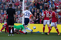 George Saville of Millwall has a chance pushed wide by Jordan Smith of Nottingham Forestduring the Sky Bet Championship match between Nottingham Forest and Millwall at the City Ground, Nottingham, England on 4 August 2017. Photo by James Williamson / PRiME Media Images.
