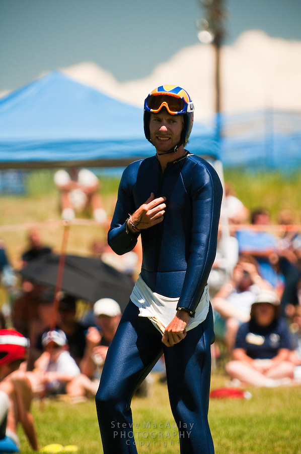 Olympic medalist in the 2010 Winter Olympics, Johnny Spillane, Summer nordic combined ski jumping competition on artificial surface at Howelsen Hill, Steamboat Springs, Colorado