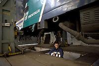 Roma 24 Febbraio 2012.I lavoratori della Rsi Italia SpA (Rail Service Italia, ex Wagons Lits), in Cassa Integrazione straordinaria da 6 mesi hanno occupato la fabbrica di via Umberto Partini a Roma. Sono 59 operai (33 metalmeccanici, 26 dei trasporti), addetti alla manutenzione dei Treni Notte..Massimiliano, frigorista, elettricista..Workers at the Rsi Italy SpA (Italy Rail Service, former Wagons Lits), extraordinary layoff from 6 months have occupied the factory in via Umberto Partini in Rome. We are 59 workers (33 metalworkers, 26 transport), Night Train maintenance workers. Rome, Italy 24th of February 2012