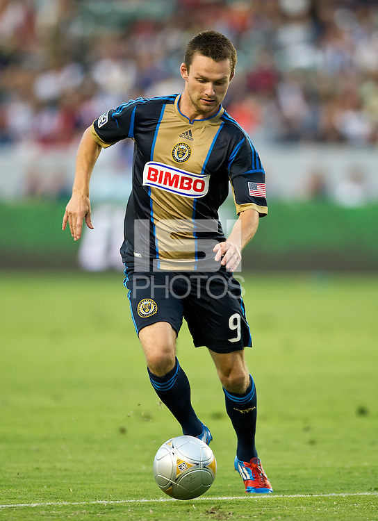 CARSON, CA - July 4, 2012: Philadelphia Union forward Jack McInerney (9) during the LA Galaxy vs Philadelphia Union match at the Home Depot Center in Carson, California. Final score LA Galaxy 1, Philadelphia Union 2.