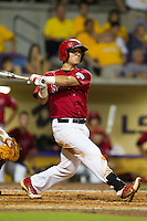 Stony Brook Seawolves second baseman Maxx Tissenbaum #8 swings during the NCAA Super Regional baseball game against LSU on June 10, 2012 at Alex Box Stadium in Baton Rouge, Louisiana. Stony Brook defeated LSU 7-2 to advance to the College World Series. (Andrew Woolley/Four Seam Images)
