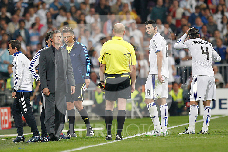 Real Madrid's Jose Mourino during Champions League semifinal first match on April 27 2011...Photo: Alex Cid-Fuentes / ALFAQUI