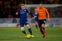 8th November 2019; Dens Park, Dundee, Scotland; Scottish Championship Football, Dundee Football Club versus Dundee United; Danny Johnson of Dundee and Calum Butcher of Dundee United chase a through ball - Editorial Use