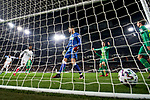 Rodrygo Goes of Real Madrid scores goal and Alex Remiro of Real Sociedad during La Liga match between Real Madrid and Real Sociedad at Santiago Bernabeu Stadium in Madrid, Spain. February 06, 2020. (ALTERPHOTOS/A. Perez Meca)
