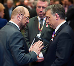Brussels-Belgium - March 14, 2013 -- European Council, EU-summit meeting of Heads of State / Government; here, Martin SCHULZ (le), President of the European Parliament, with Viktor ORBAN (Orbán)(ri), Prime Minister of Hungary -- Photo: © HorstWagner.eu