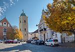 Rzeszów (woj. podkarpackie) 2018-10-11. Centrum miasta - kościół św. Wojciecha i św. Stanisława w Rzeszowie.