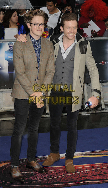 Tom Fletcher &amp; Danny Jones of McFly<br /> 'Man Of Steel' UK film premiere, Empire cinema, Leicester Square, London, England.<br /> 12th June 2013<br /> full length brown grey gray suit jacket waistcoat hand arm on over shoulder black jeans denim <br /> CAP/CAN<br /> &copy;Can Nguyen/Capital Pictures
