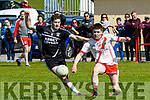 An Ghaeltacht Gearóid Mac an tSaoir and Ardfert Fionan Horgan in an action during the Intermediate Club Championship at Gallarus on Monday afternoon.