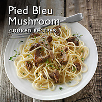 Food Pictures of Pied Bleu, Blewitt or Blue Foot Mushrooms Cooked recipe dish.  Food Photos, Images.