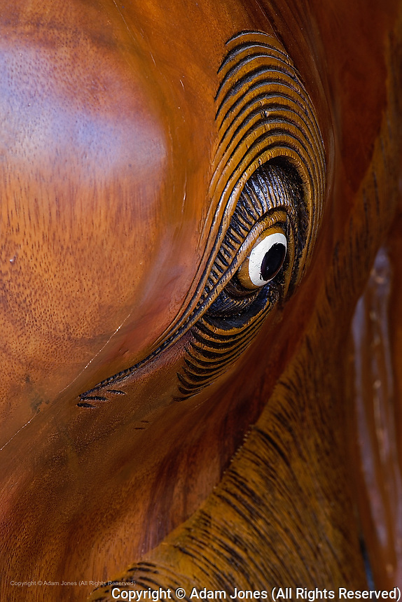 Close-up of carved wooden elephant statue, Chiang Mai, Thailand