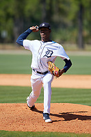 Detroit Tigers Angel De Jesus (22) during a Minor League Spring Training game against the Toronto Blue Jays on March 22, 2019 at the TigerTown Complex in Lakeland, Florida.  (Mike Janes/Four Seam Images)