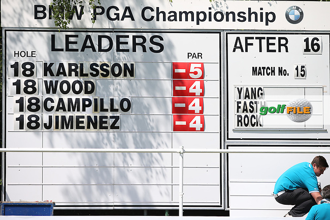 Leaderboard at lunch during Round One of the 2015 BMW PGA Championship over the West Course at Wentworth, Virginia Water, London. 21/05/2015Picture David Lloyd, www.golffile.ie.