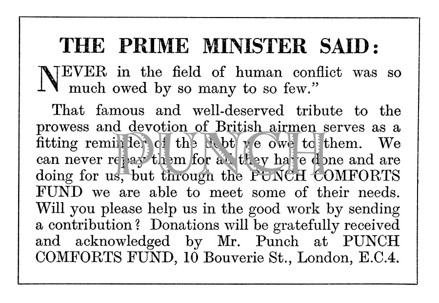 Punch Comforts Fund ad: The Prime Minister said: Never in the field of human conflict...