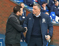 Blackburn Rovers' Manager Tony Mowbray greets Derby County's Manager Frank Lampard<br /> <br /> Photographer Dave Howarth/CameraSport<br /> <br /> The EFL Sky Bet Championship - Blackburn Rovers v Derby County -Tuesday 9th April 2019 - Ewood Park - Blackburn<br /> <br /> World Copyright &copy; 2019 CameraSport. All rights reserved. 43 Linden Ave. Countesthorpe. Leicester. England. LE8 5PG - Tel: +44 (0) 116 277 4147 - admin@camerasport.com - www.camerasport.com