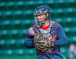 8 July 2015: Mahoning Valley Scrappers catcher Li-Jen Chu warms up prior to a game against the Vermont Lake Monsters at Centennial Field in Burlington, Vermont. The Lake Monsters defeated the Scrappers 9-4 to open the home game series of NY Penn League action. Mandatory Credit: Ed Wolfstein Photo *** RAW Image File Available ****