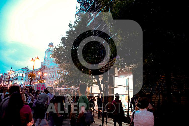 EL ANIVERSARIO DEL 15M COLAPSA EN CENTRO DE MADRID...12-05-2012..Photo: Sirocco / ALFAQUI..