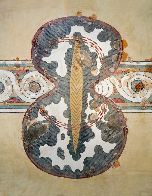 Minoan wall art fresco of a 'figure of eight' shield from Knossos Palace, 1450-1300 BC. Heraklion Archaeological Museum.<br /> <br /> <br /> The Final Palatial Period Minoan fresco is from the Grand Staircase of the Palace of Knossos and is a Trompe-l'œil  of minoan warriors shields covered with ox hide.
