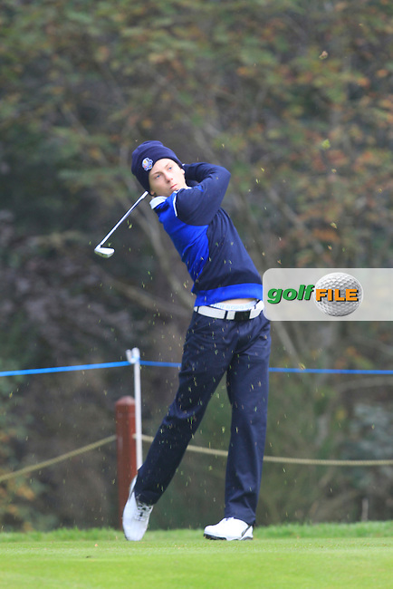 John Axelsen (DEN) on the 3rd tee during Monday's Morning Foursomes Match 1 of the 2014 JUNIOR RYDER CUP at the Blairgowrie Golf Club, Perthshire, Scotland. <br /> Picture:  Thos Caffrey / www.golffile.ie
