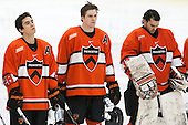 Aaron Ave (Princeton - 28), Kyle Rankin (Princeton - 19), Colton Phinney (Princeton - 33) - The Harvard University Crimson defeated the visiting Princeton University Tigers 5-0 on Harvard's senior night on Saturday, February 28, 2015, at Bright-Landry Hockey Center in Boston, Massachusetts.