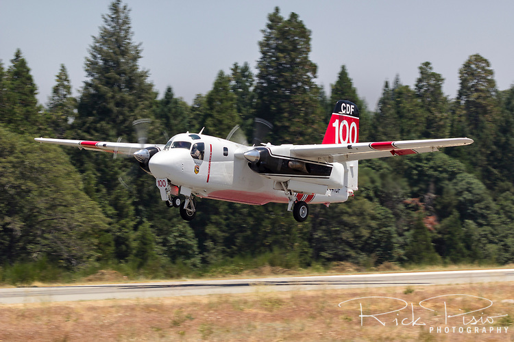S-2F3AT Tracker, CDF 100, gets airborne from the Grass Valley Air Attack Base in Northern California enroute to a wildfire.