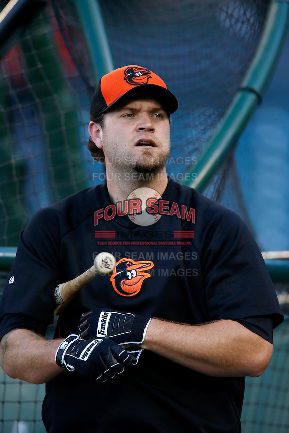 Chris Snyder #48 of the Baltimore Orioles before a game against the Los Angeles Angels at Angel Stadium on May 2, 2013 in Anaheim, California. Baltimore defeated Los Angeles 5-1. (Larry Goren/Four Seam Images)