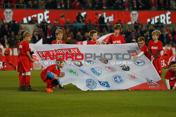 08.02.2019, RheinEnergieStadion, Koeln, GER, 2. FBL, 1.FC Koeln vs. FC St. Pauli,<br />  <br /> DFL regulations prohibit any use of photographs as image sequences and/or quasi-video<br /> <br /> im Bild / picture shows: <br /> Kinder mit dem Fair-Play Banner.. <br /> <br /> Foto &copy; nordphoto / Meuter