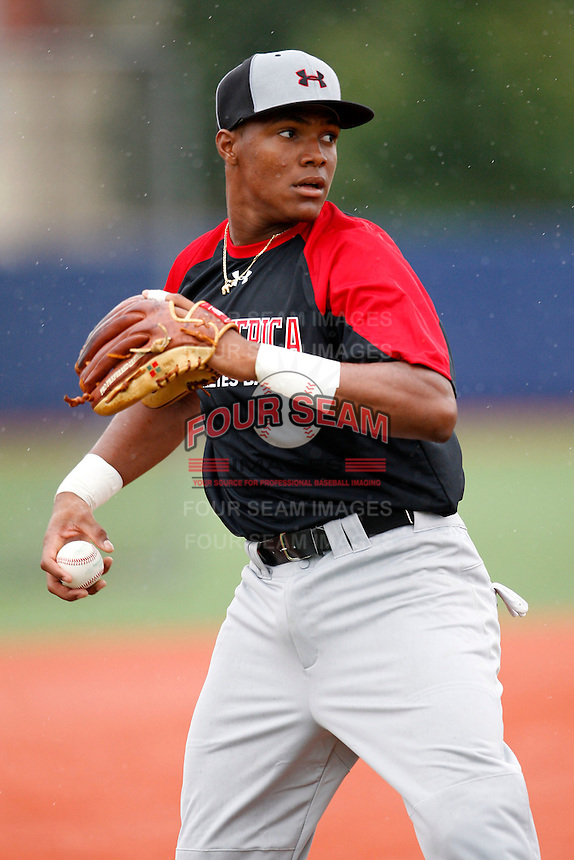 August 7, 2009:  Shortstop/Pitcher Yordy Cabrera (9) of the Baseball Factory team during the Under Armour All-America event at Les Miller Field in Chicago, IL.  Photo By Mike Janes/Four Seam Images